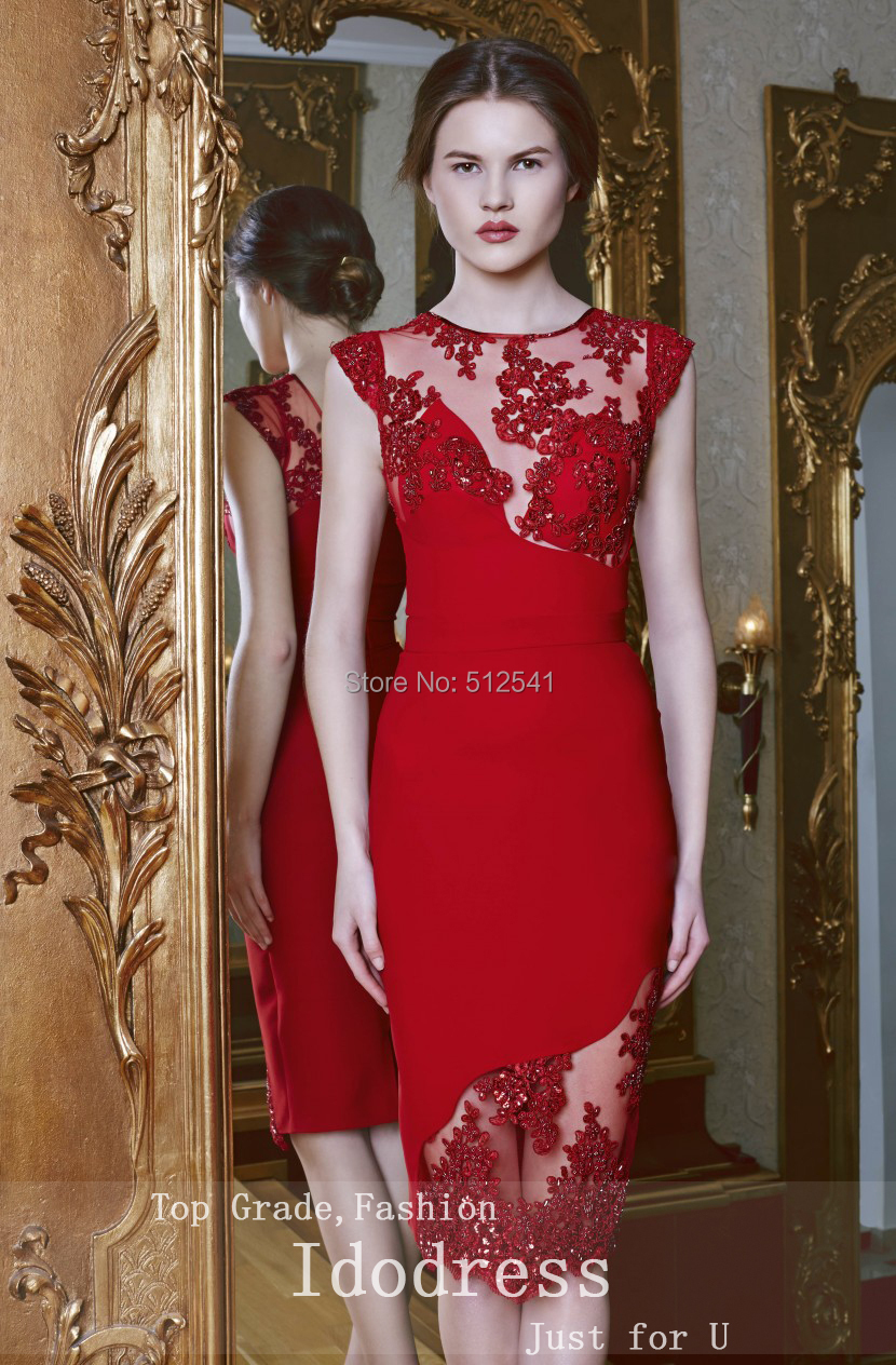 eeac0c45c65 Asymmetrical Sheath O Neck Appliqued Red Satin and White Tulle Prom ...