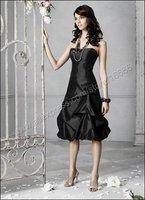 2015 бесплатная доставка! современный без бретелек природный высокое качество тафта черный короткие платья платье подружки невесты tlf108 сделано в китае