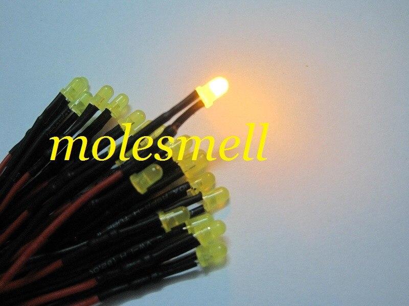 amarelo led lâmpada luz conjunto pré-wired 3mm 12v dc com fio