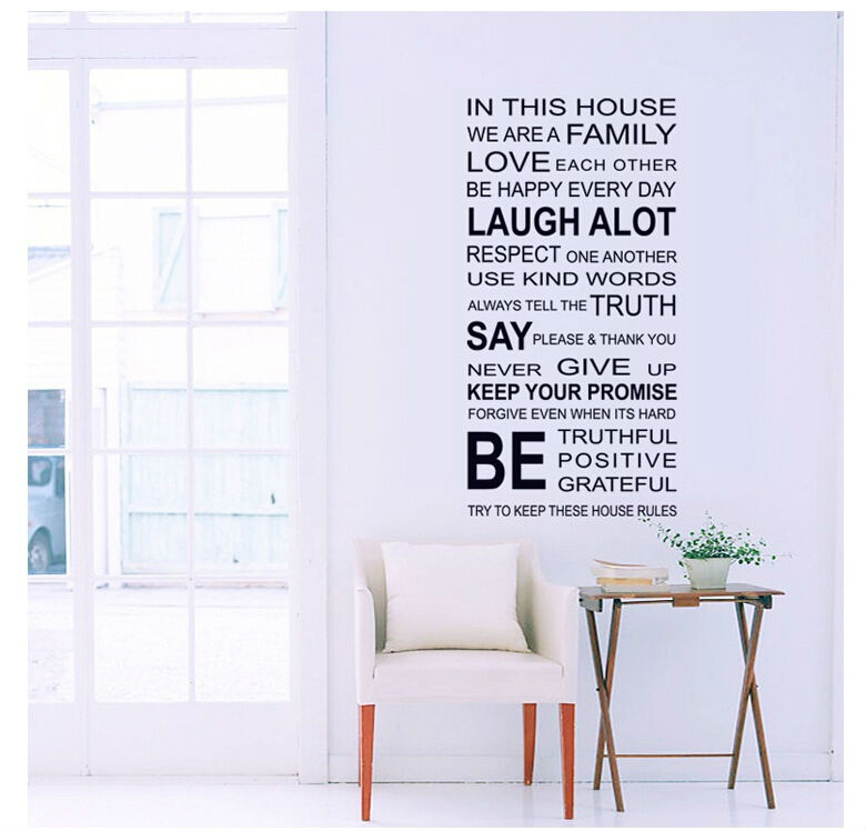 IN This House Letters Proverbs Wall Stickers English Poetry Large Viny Home  Decorative Windows Mirror Removable Wall Decal In Wall Stickers From Home  ... Part 75