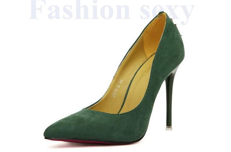 винтаж сексуальное красной подошвой острым носом на высоком каблуке женская туфли на высоком каблуке обувь новое дизайн менее туфли на платформе 6 цветов ddm146