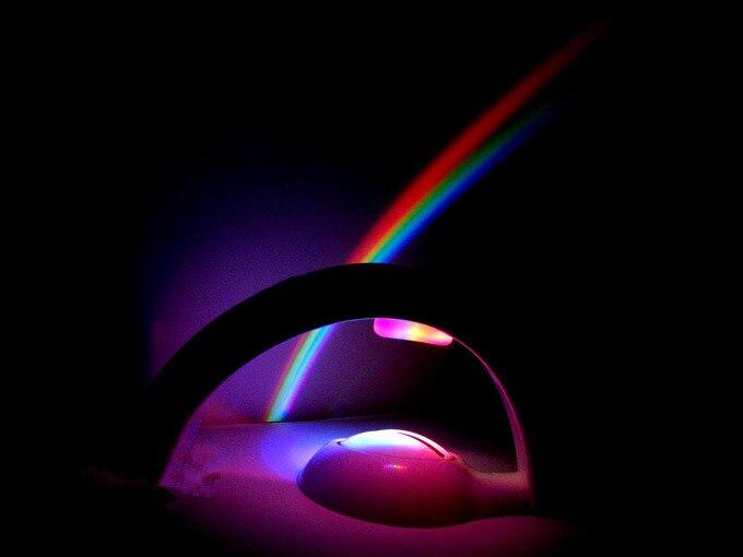 Светодиодный проектор радуги в комнате Романтический УФ-лампа свет проектор