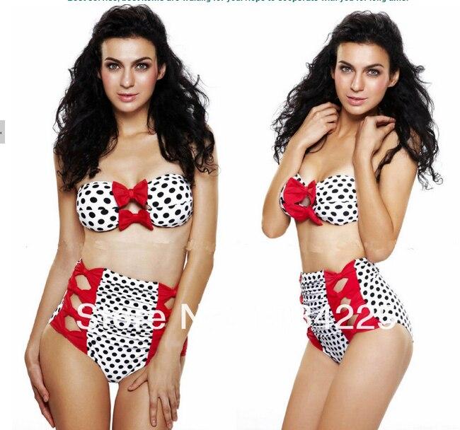 af53d27cf17f7 Nuevo 2016 VS más el tamaño de talle alto bikinis conjunto arco vintage  trajes de baño lindo arco de trajes de baño de cintura para mujeres en  Bikinis Set ...