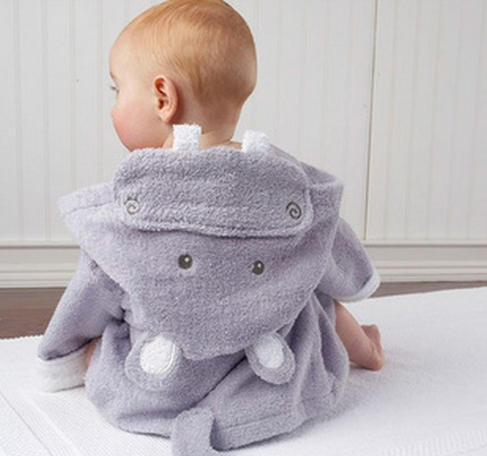 933dbda87b8c Purple Hippo Baby Boy Dressing Gown Splash Wrap Bath Hooded Towel ...