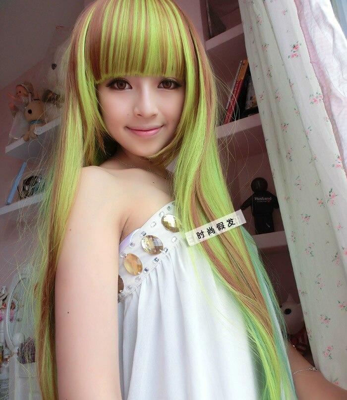 Free Shipping Fashion Synthetic Hair Wigs Long Straight Hair Three