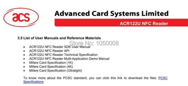 US $21 99 |ACR122u NFC Reader Writer 13 56Mhz RFID Copier Duplicator + 5pcs  UID Card + 5pcs UID Tag +SDK + M ifare Copy Clone Software-in Control Card