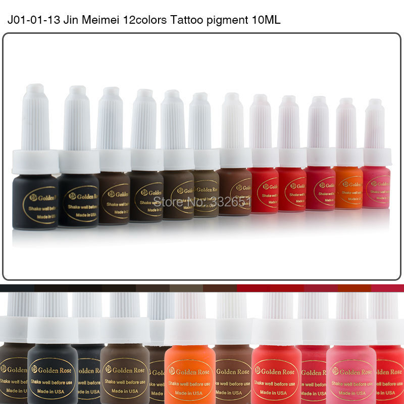 CHUSE J01 Permanent Tattoo Ink Makeup Pigment kit Supply For Eyebrows Lips Tattoo 12 Golden Rose Colors 9