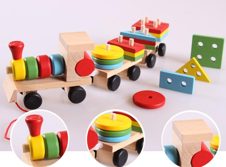 Free delivery factory price children's educational Three small trains toys, wooden blocks trains, kids Models Building Toy 3