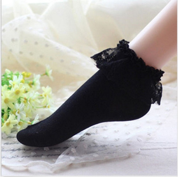 16 Fashionable Lovely Cute Fashion Women Vintage Lace Ruffle Frilly Ankle Socks Lady Princess Girl Favorite 5 Color Available 14