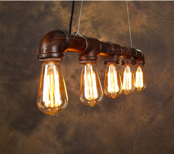 Vintage Pendant Light American Edison Lamp Water Pipe Style E27 5pcs Art Luminaire Decoration Bar Restaurant Lighting In Lights From