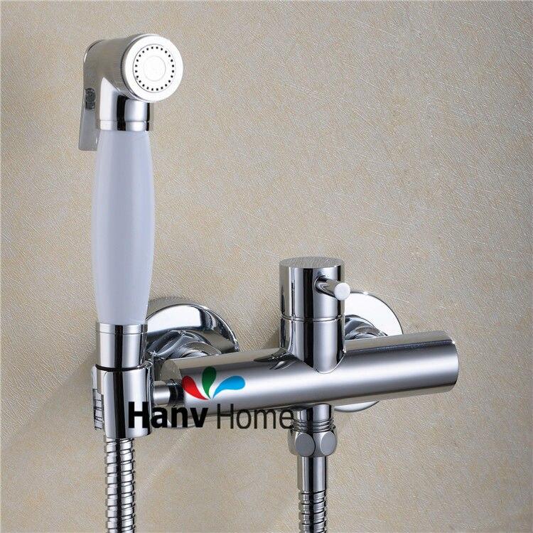 Toilet Bathroom Hand held Bidet Spray Shattaf + Brass Hot & Cold ...