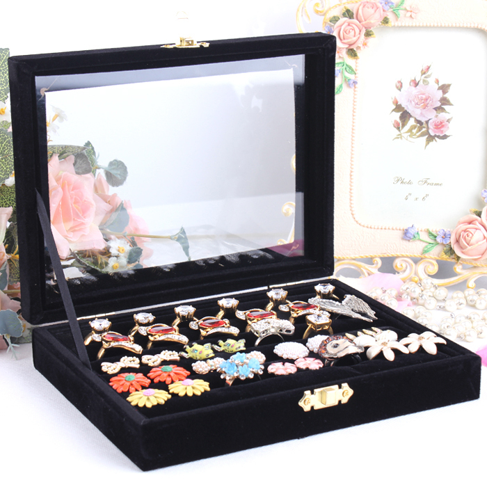 Aliexpresscom Buy Small Jewelry Velvet Box Glass Cover Ring