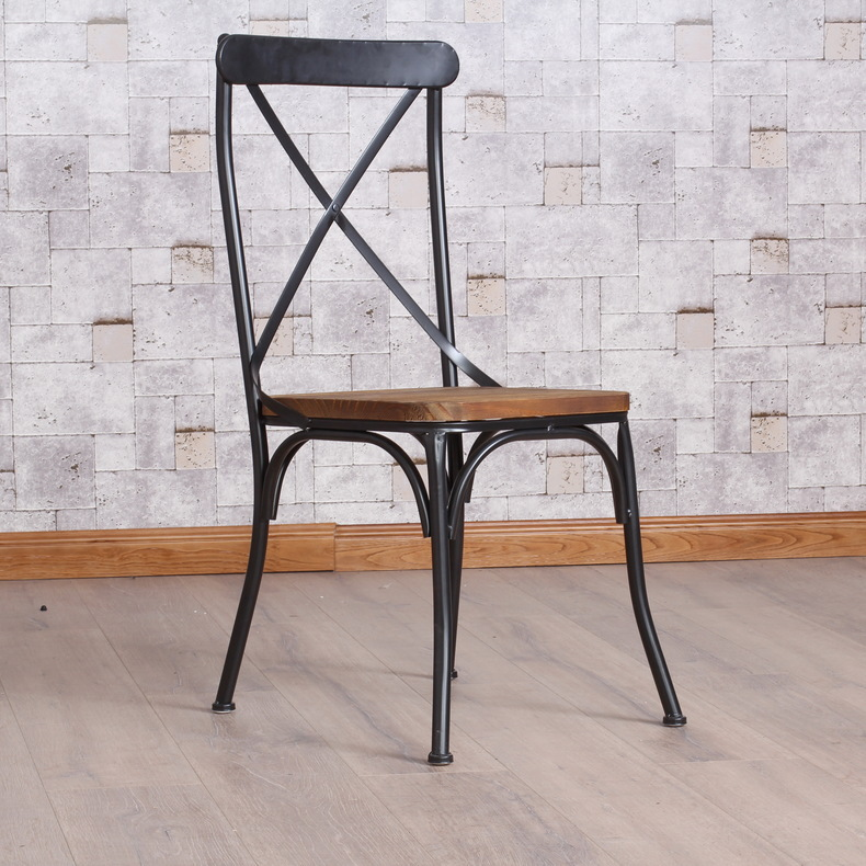 Industrial Dining Chair Oxo Tot Sprout High Taupe Walnut American Country Iron Retro Do The Old Wind Loft Office Dinner French