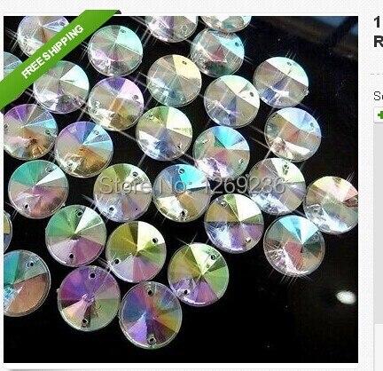 Loose beads14mm Clear AB Sew On Acrylic Rhinestone Crystal Rivoli Round  Flatback for sewing stone 150pcs bag 41a802abd29e