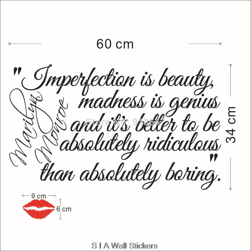 New High Quality English Quotes Wall Stickers Imperfection