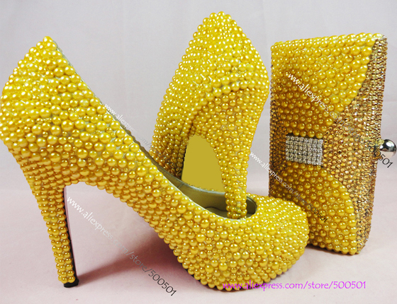 aliexpresscom buy yellow wedding shoes new fashion handmade high heeled rhinestone yellow wedding heels and matching clutch bag from reliable shoes with