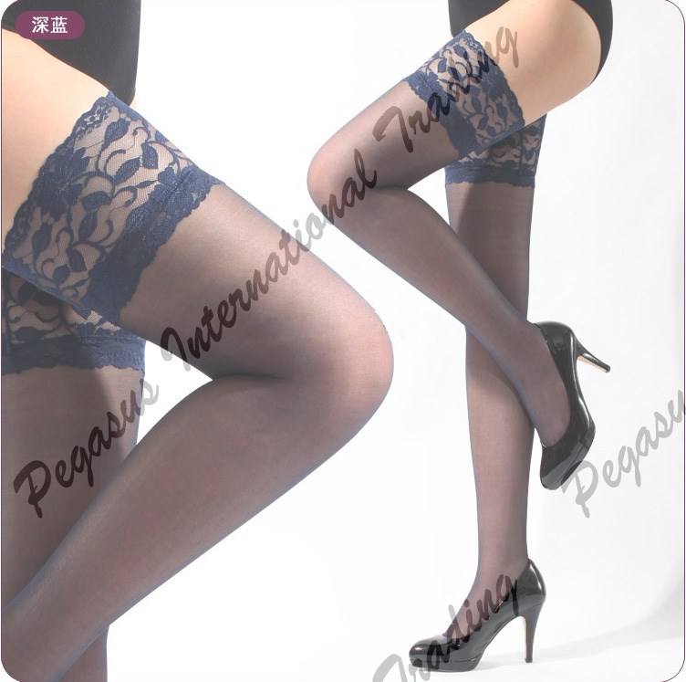 Hot Sexy Ladies Women's Sheer Lace Top Thigh High Stockings 15 Colors hose nylon stockings Women's Tights