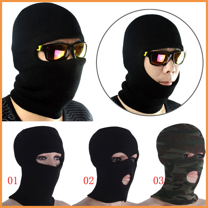 Free shipping 3 Hole Full Face Mask Balaclava Paintball Outdoor Beanie  Motorcycle Cycling Ski A0558 1242b5b28cd