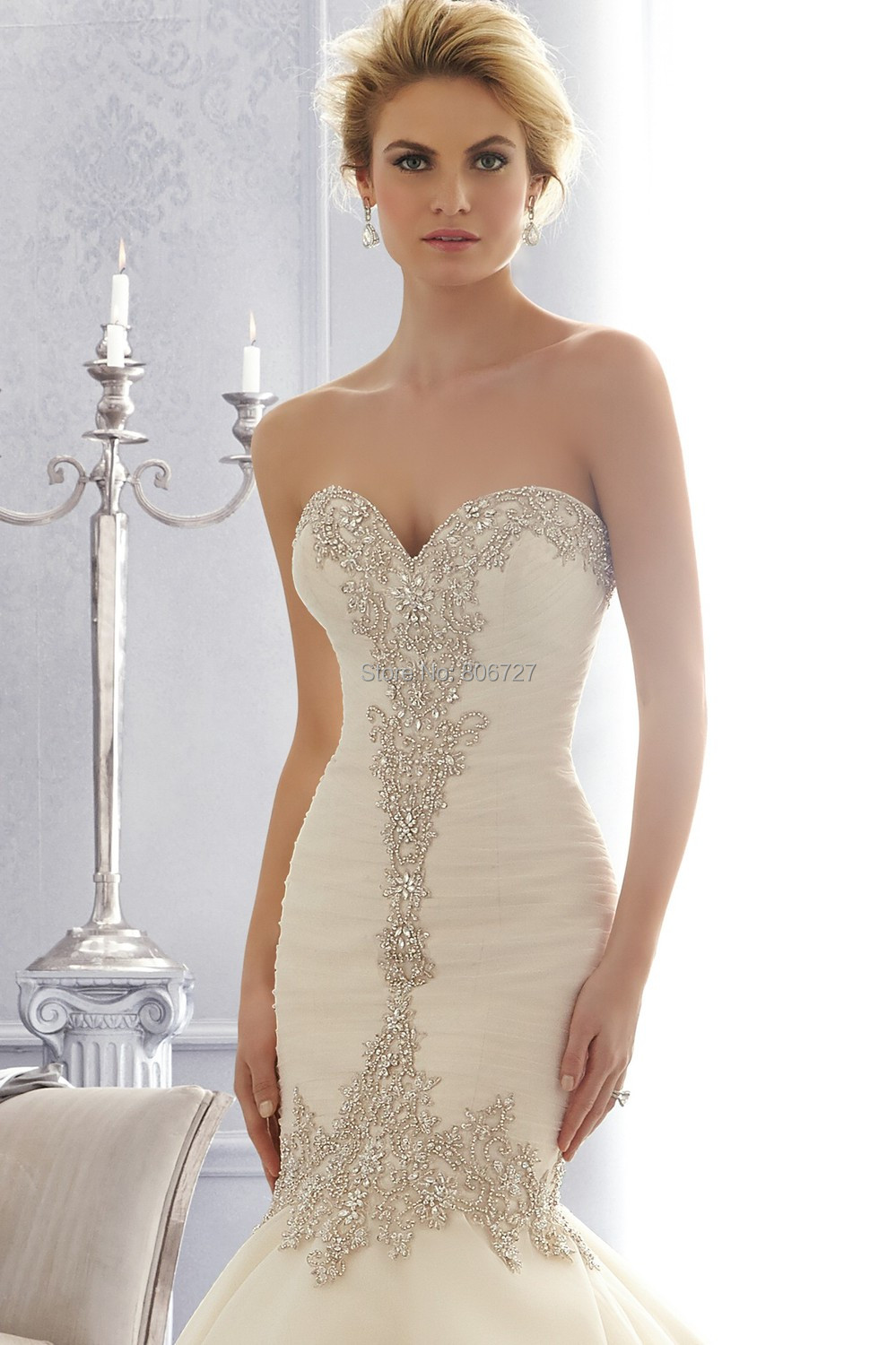 Mermaid Wedding Dresses With Sweetheart Neckline And Crystals ...
