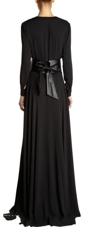 dfdace6a67302 Dubai Deep Low Cut Arabic Empire Waist Maxi Gown With Belt Black ...