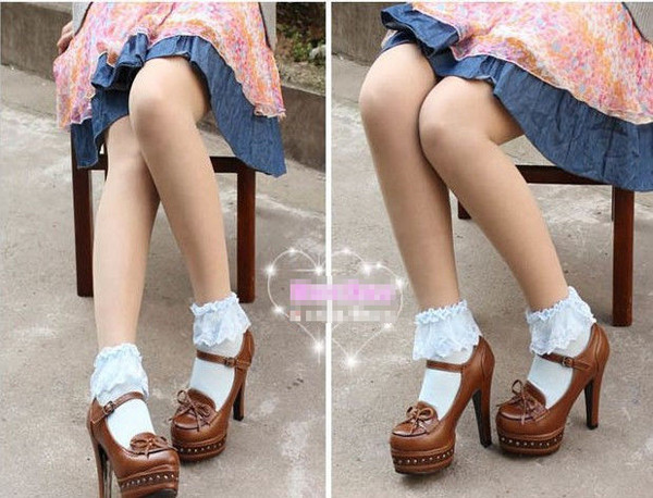 16 Fashionable Lovely Cute Fashion Women Vintage Lace Ruffle Frilly Ankle Socks Lady Princess Girl Favorite 5 Color Available 7