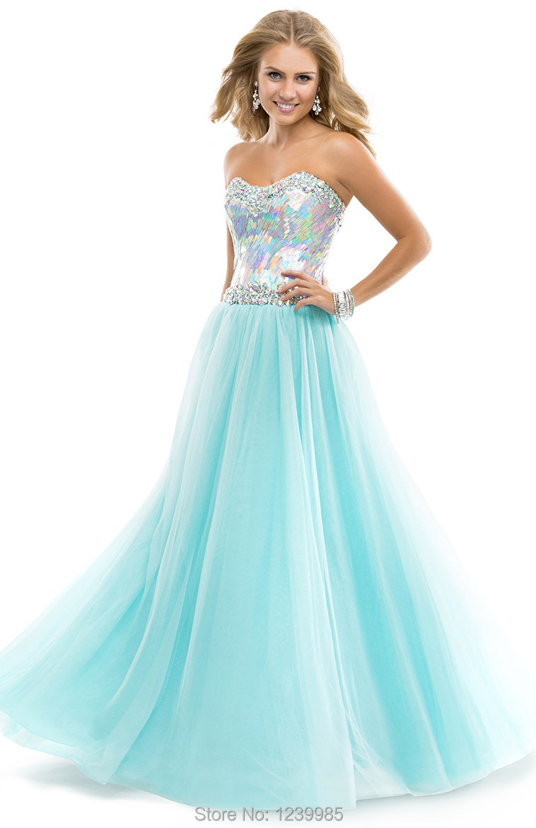 2016 Online Shopping Sexy Sweetheart Long Prom Dresses Shining ...