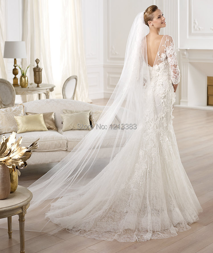 High Quality 3/4 Sleeves White Mermaid Open Back Lace Bridal Dress ...