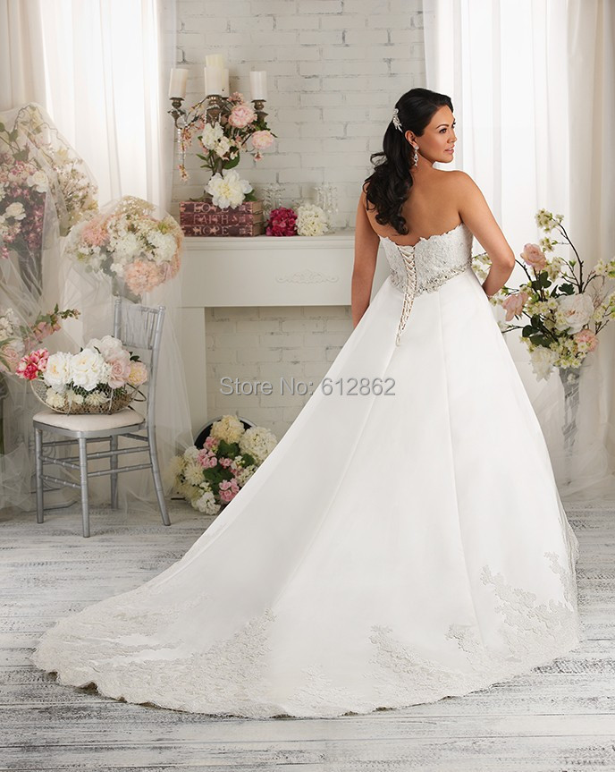 Strapless A line Long Train Lace Plus Size Wedding Dress-in Wedding ...