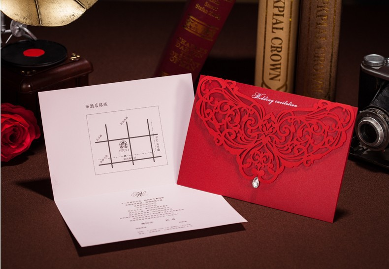 Red korean design wedding invitations laser cut 2014 diamond red korean design wedding invitations laser cut 2014 diamond invitation card sample wedding decoration with envelope and seal in event party from home stopboris Choice Image