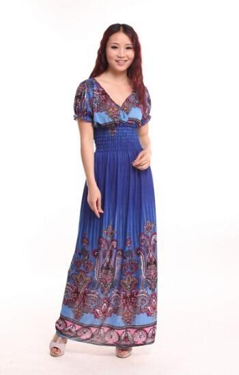2016 נשים חדשות האצטקית פרחוני השבט Kaftan השמלה נשים צועני בוהמי שמלת קיץ maxi הארוך שמלת גודל XL-XXXL