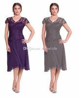 весна лето эталонных изображений шифон фиолетовый элегантный дешевые мать невесты платья с V - ожерелье шифон