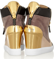 2014gz новый золотой блестки украшенные заклинание цвета замши клин кроссовки для женщин