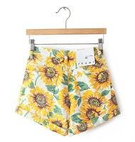 бесплатная доставка! подсолнечника печать высокая талия джинсовые шорты / брюки размер 23 - 29