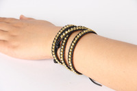 новый ручной чистая кожа прядь браслеты из бисера золото бисера браслеты мода украшения