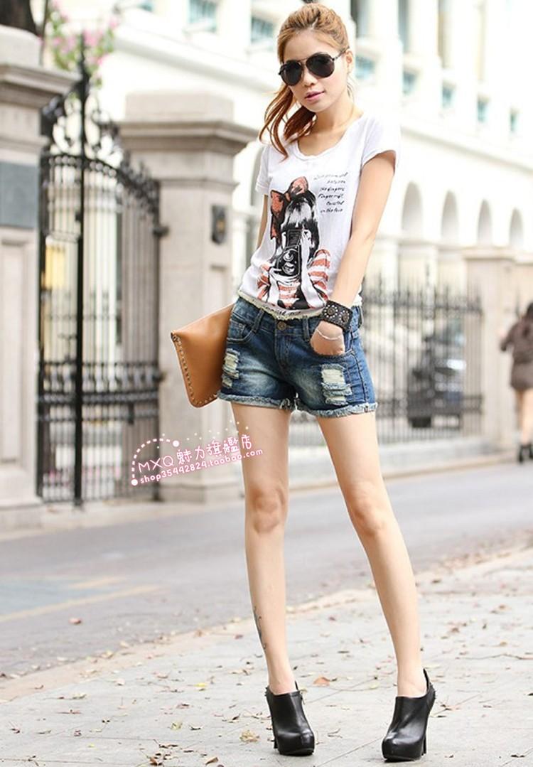 лето женская шорты корейский новинка с низкой талией тонкий отверстие письмо женская джинсовые шорты тонкий джинсы