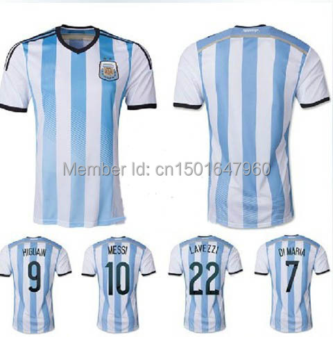 b2c93a6ad 2014 World Cup Argentina jersey   soccer player Lionel Messi InterVideo  Addis Kun Aguero soccer uniforms   multi No. Optional