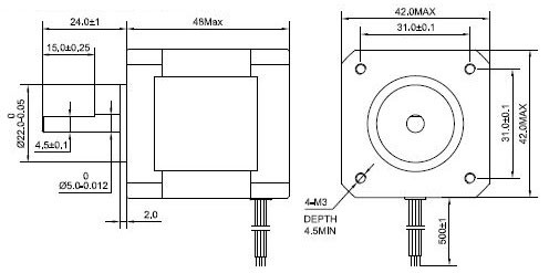 0.9deg Nema 17 Stepper Motor Bipolar 2A 46Ncm/65oz.in