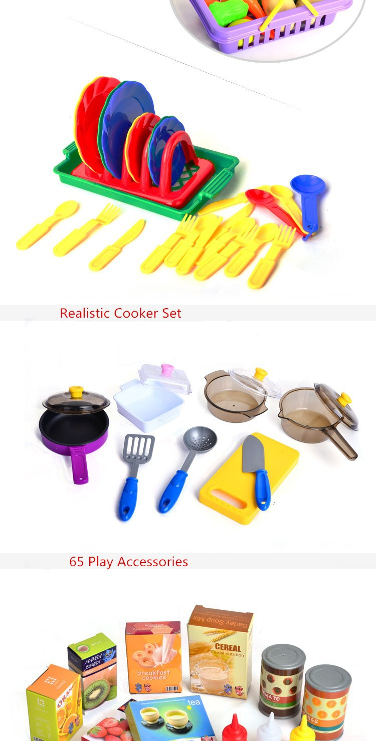 Kitchen Toys Plastic Play Pretend Food Dinnerware Set Master Cook\'s ...