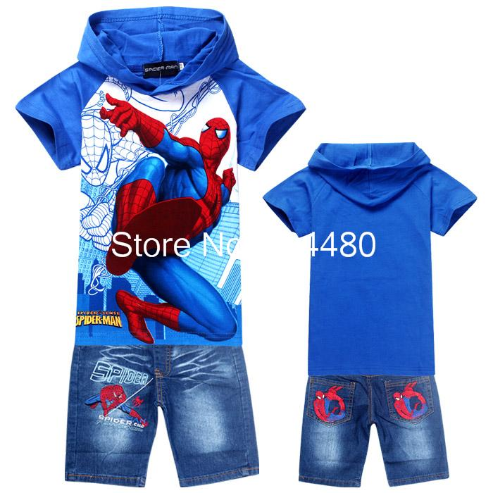 c8cbe8ac5 fashion 2014 spiderman children clothing sets,cartoon baby hoodies jeans  suit,retail boys short sleeve t shirt pants Blue Gray-in Clothing Sets from  Mother ...