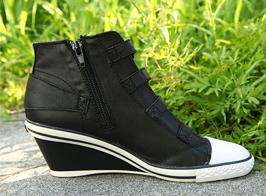 b93b85ef316d Ash Genial Ter Womens Wedge Sneaker Black Leather Sneakers Free Shipping.  size chart