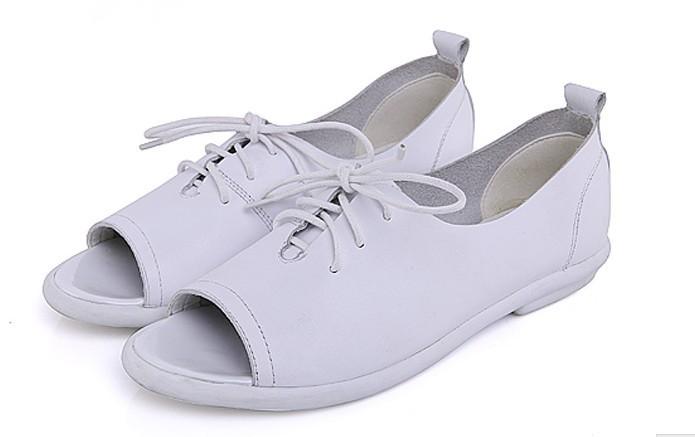 натуральная кожа открытый носок женщины в сандалии удобные Леа лук обувь пятки один обувь