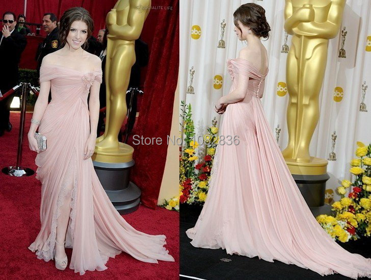 Free Shipping Real Pictures Oscar Red Carpet Fashion Classical Off Shoulder Front Slit Pink Chiffon Celebrity Dress.jpg