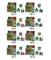 супер герой альянс, фигура, капитан америка, человек пак, зеленый гигантский мини-фигура игрушки, 8 шт. халк + 8 шт. ужин человек = 16 шт