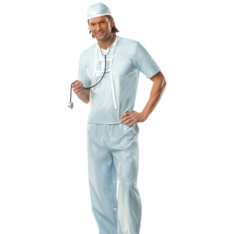 Surgeon Mask Mens Fancy Dress Doctors Medical Uniform Adults Costume Outfit