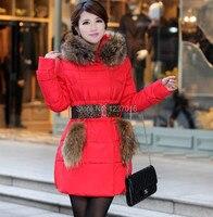 2014 новый зима женщины в вниз девочки длинная сезона ово воротник мисс хан пан вниз подлинная