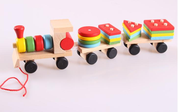 Free delivery factory price children's educational Three small trains toys, wooden blocks trains, kids Models Building Toy 2