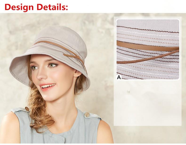 Kenmont Bucket Hat Caps Cotton Hemp Women Lady Girl Summer Solid ... f6e25b4979dd