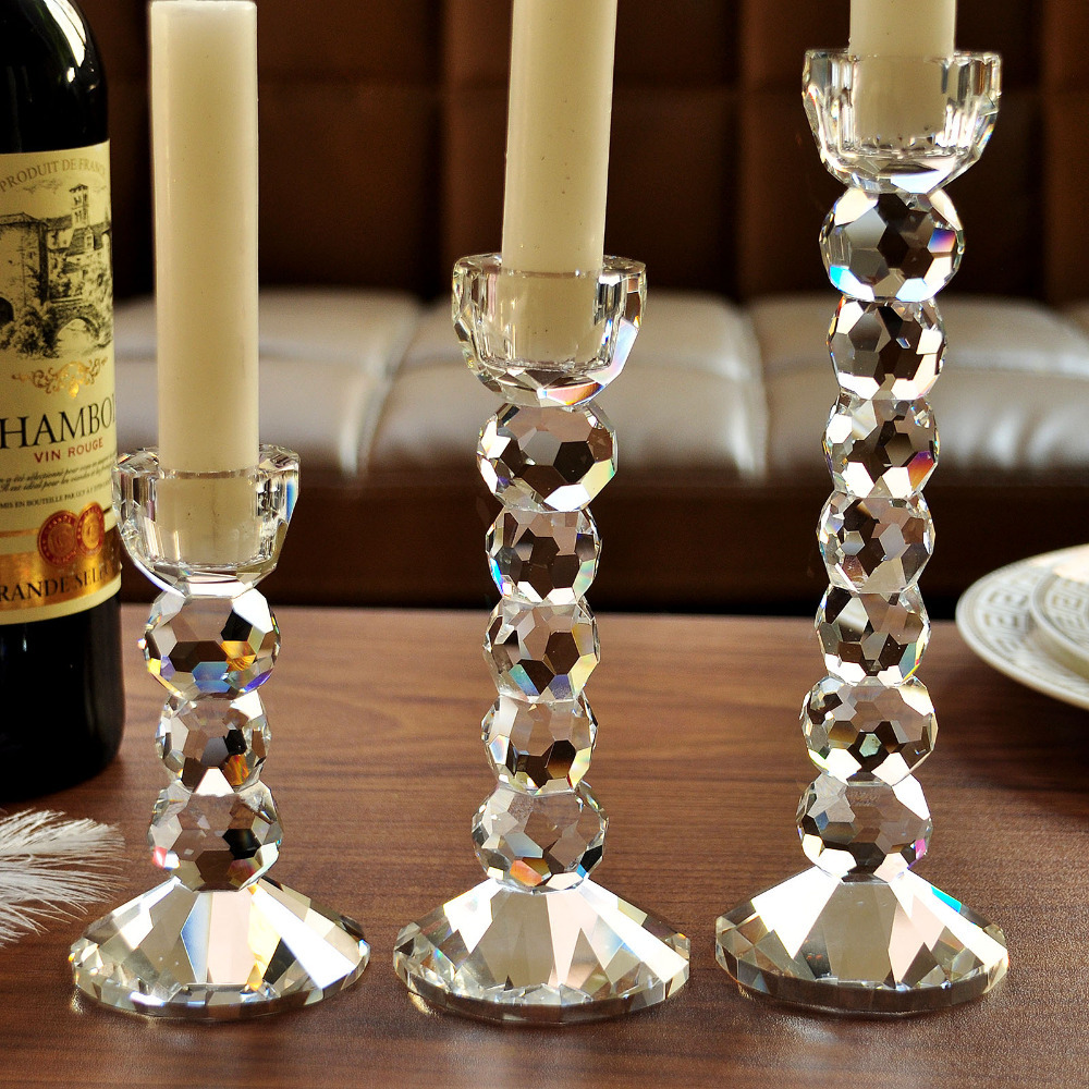 Free shipping new design table crystal candle holder for weeding home decor romantic dinner combination of wholesale in candle holders from home garden on