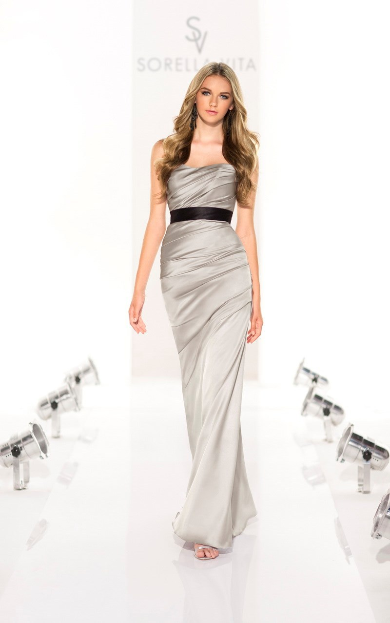 стиль без жестокой сборок Designer серебро атлас платье невесты с черным пос asbd26