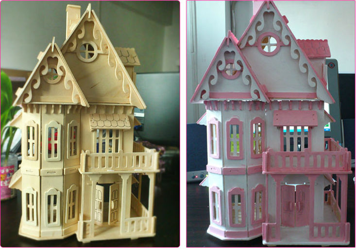 Aliexpress Com Buy Diy House Wood Dollhouse 3d Puzzle Furnitures Miniature Handmade Model Building Kit Toy Big Size House To Kids Chirstmas Gift From